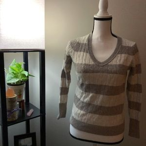 Ann Taylor LOFT Brown x Ivory Striped Sweater - M